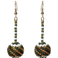 Green / Gold Dangling Ball Earrings 01.