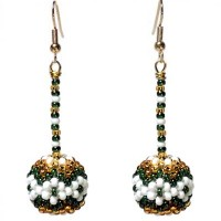 Green / Gold Dangling Ball Earrings 02