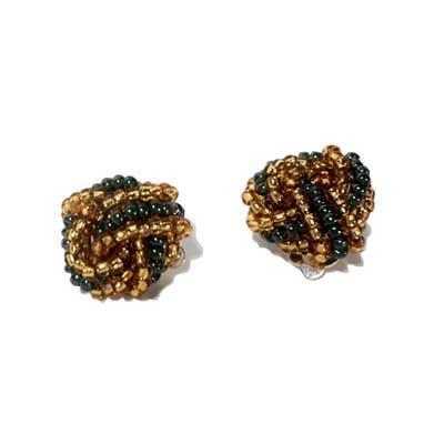 Green / Gold Knot Earrings