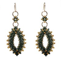 Green / Gold Leaf Earrings