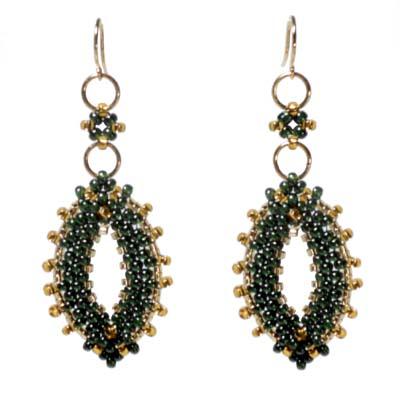 Green / Gold Leaf Earrings